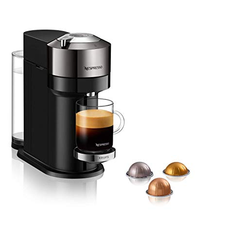 Krups XN910C Nespresso Vertuo Next Kaffeekapselmaschine | 1,7 Liter Wassertank | Kapselerkennung durch Barcode | 6 Tassengrößen | Power-Off Funktion | aus 54 % recyceltem Kunststoff | Dark Chrome