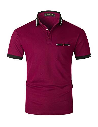 GHYUGR Polo Hombre Manga Corta con Bolsillo Elegante de Rayas Camiseta Formal Negocios Camisia de Algodón para Oficina,Rojo 1,XXL
