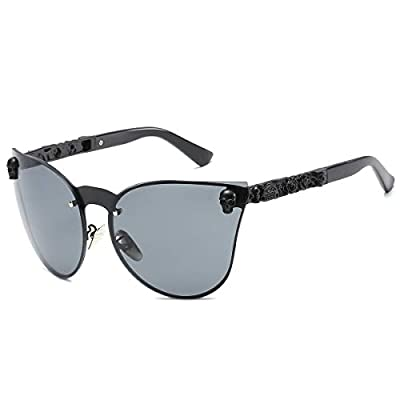 SamuRita Rimless Gothic Skull Cat Eye Sunglasses Punk Oversized Eyewear