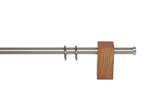 indeko PURE, Gardinenstange Ø 20 mm, Kombination aus Holz und Metall auf Maß, 1-Lauf, eiche-hell, Komplettset mit Zubehör
