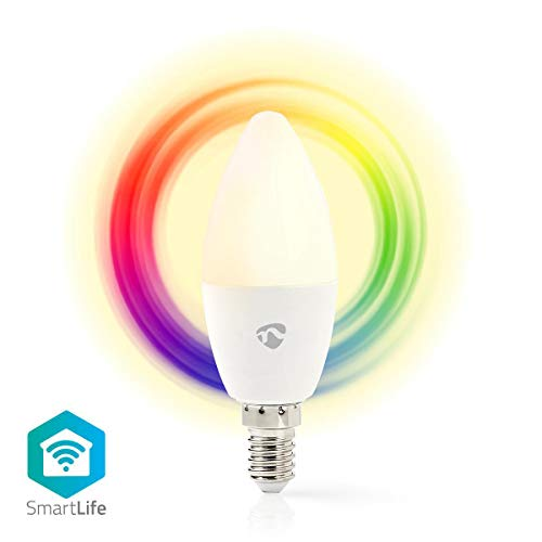 Nedis Smartlife - Bombilla Full Color - E14 - 350 lm - 4,5 W - Regulable Blanco / RGB / Blanco Cálido - RGB + 2700 K - Android™ & iOS - WiFi - Diámetro: 37 mm - Vela