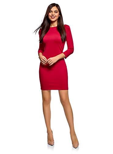 oodji Ultra Damen Tailliertes Kleid mit Rückenausschnitt, Rot, DE 44 / EU 46 / XXL