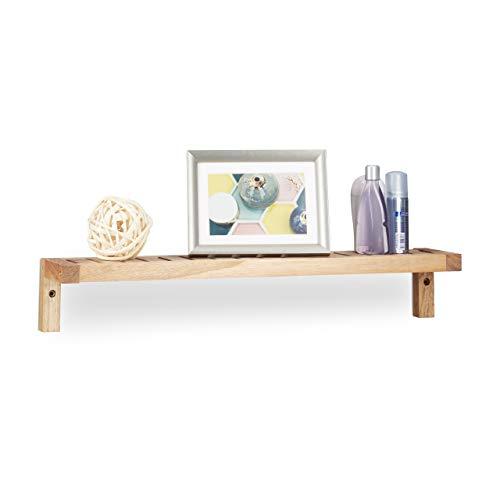 Relaxdays Wandregal Walnuss, Hängeregal, Holzregal, für Bad, Küche und Kinderzimmer, HxBxT: 10 x 60 x 12,5 cm, Natur