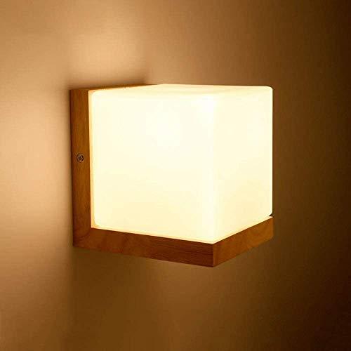 NOTREPP E27 Pared de Madera de Pared LED Base Industrial candelabro lámpara Retro Gafas de Cubo de la lámpara de Pared Edison ático Retro para salón, Dormitorio, Dormitorio, Interior,Beige