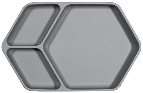 Plato de silicona de Kindsgut, platos con divisiones de silicona, buena adherencia y propiedades antideslizantes gracias a la ventosa, libre de BPA (bisfenol) y certificado por la FDA, gris oscuro