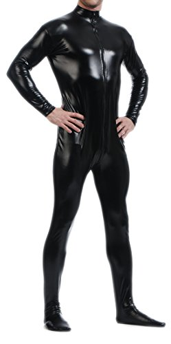 Seeksmile Unisex Metallic Bodysuit Zentai Without Hood (Medium, Black)