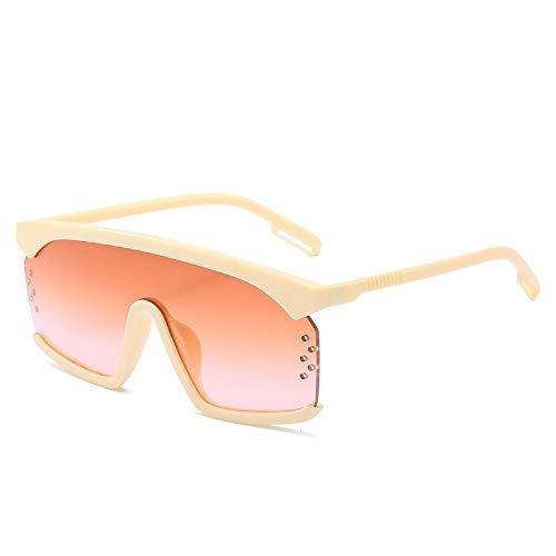 ShZyywrl Gafas De Sol Gafas De Sol Vintage De Gran Tamaño con Montura Cuadrada Y Parte Superior Plana Whiteteapink