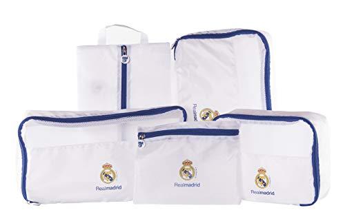 Real Madrid Organizador de Equipaje - Producto Oficial del Equipo, con 5 Piezas Diferentes y Fabricado en Nylon muy Ligero para No Añadir Peso a la Maleta