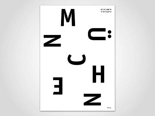 München — Poster, Stadt, Ort, Metropolen, Geografie, Holland, Stadtposter, Landkarte, Kunstdruck, skandinavisch, Deko, Weihnachten, Map, Deutschland, Bayern, Oktoberfest, Wiesn