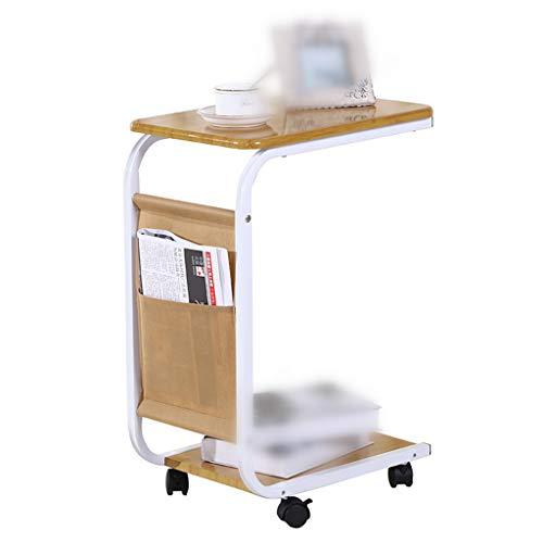Dongy Laptop-bureau, multifunctioneel, draagbaar, nachtkastje, bijzettafeltje met riemschijf, 2 lagen, hoogte 65 cm