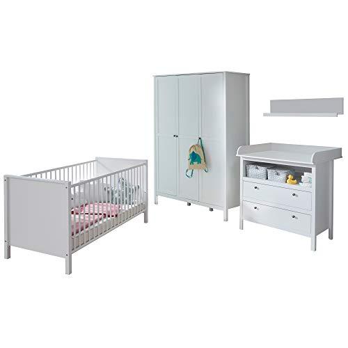 trendteam smart living Babyzimmer 4-teiliges Komplett Set in Weiß mit viel Stauraum