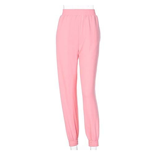 CML Baumwolle Hohe Taille Losse Baggy Cargo Hosen Herbst Winter Fitness Hosen Streetwear Outfits (Color : Pink, Size : L)