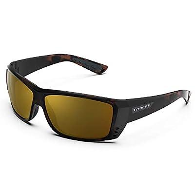 TOREGE Polarized Sports Sunglasses for Men Women Cycling Running Driving Fishing Golf Baseball Glasses TR23 (Matte Tortoise&Black&Revo Tawny Lens)