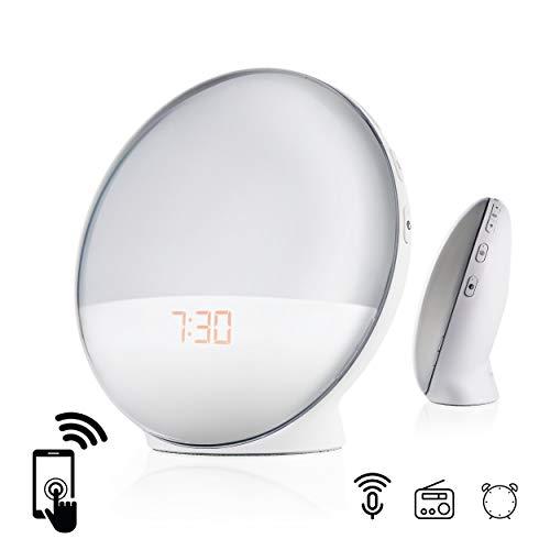 Goliath Smart Wecker, Lichtwecker mit USB Stromanschluss, App Steuerung, FM Radio, Naturgeräuche, Sonnenaufgang, 4 Weckzeiten