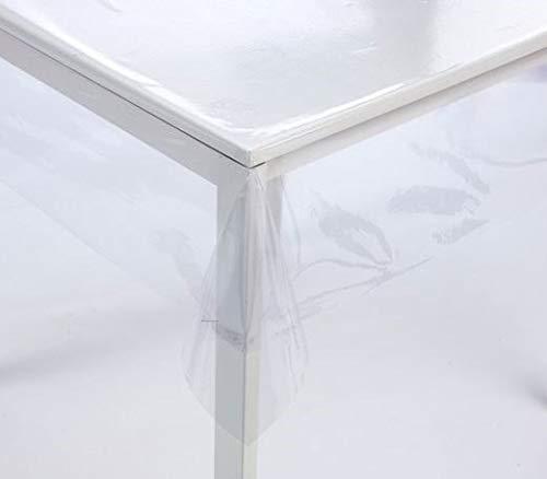 Ilkadim Tischdecke transparent 140cm breit, Meterware 0.2mm stark, Tischfolie durchsichtig, abwaschbar (140 x 100cm)