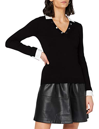 Morgan Pull Col Chemise boutons Encolure MG Suéter, Noir, TS para Mujer