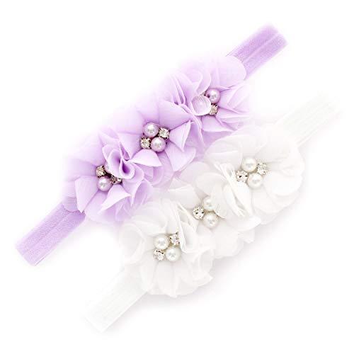 My Lello Baby Flower Headbands Fabric Beaded Trio Stretchy Elastic Pair (Lavender/White)