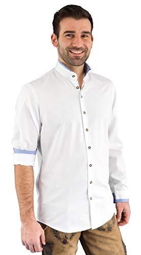 Arido Trachtenhemd Herren 2624 255 30 Baumwollhemd Weiß Blau Kariert Hemd Stehkragen Slim Fit Freizeit Shirt Herren Slim - 44