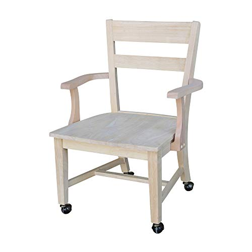 International Concepts Dining Chair with Casters, Unfinished