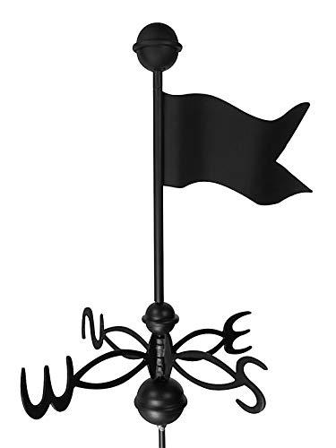 Dalvento 405B Wetterfahne aus Aluminium mit Richtungen und Kugeln, klein, Schwarz