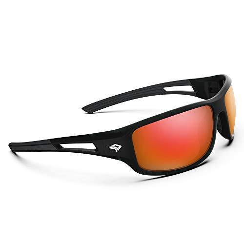 Torege Polarized Sports Sunglasses for Men Women Cycling Running Driving Fishing Golf Baseball Glasses TR03 (matte transparent grey&black&red lens)