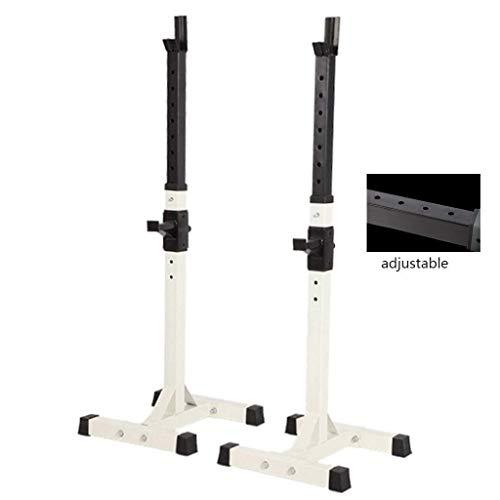 Hantelständer Verstellbare Hocke Halterung Stahl Langhantelhalterung Sportgeräte Ständer Schwerlastständer (Farbe: Weiß)