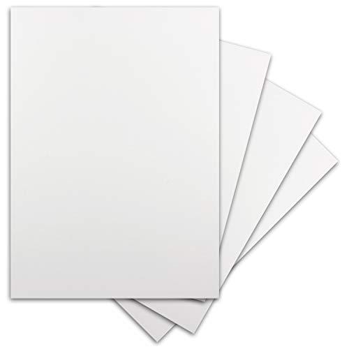 40 Blatt DIN-A5 Ton-Karton - 300 g/m² Bastel-Papier - 14,8 x 21 cm - Weiss - geprägte Leinen-Struktur - Tonzeichenpapier zum Basteln - Fotokarton