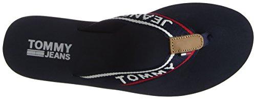 Hilfiger Denim Damen Jeans MID Beach Sandal Zehentrenner, Blau (Tommy Navy 406), 40 EU