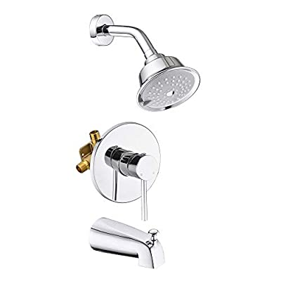 HANEBATH Shower Faucet Set with Tub Spout, Chrome Shower Trim Kit Complete with Pressure Balance Valve and 3-Function Shower Head
