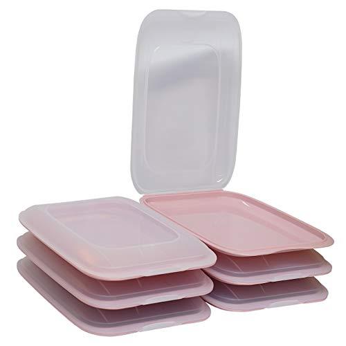ENGELLAND - Hochwertige stapelbare Aufschnitt-Boxen, Frischhaltedose für Aufschnitt. Wurst Behälter. Perfekte Ordnung im Kühlschrank, 6 Stück Farbe Rosa, Maße 25 x 17 x 3.3 cm