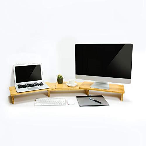 Doppel-Monitorhalter aus Bambus - 3-teilige Monitorerhöhung mit Einstellbarer Länge und Winkel - Monitorständer aus Bambus - Bildschirmerhöhung Holz - Tablet Ständer - Halterung 2 monitore