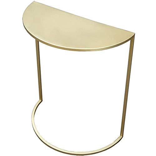 STARCLOCK Nordic Sofa Beistelltisch, Halbrunde Moderne Minimalistische Eisen Marmor Wohnzimmer Goldene Ecke Tisch Balkon Kleinen Runden Tisch Couchtisch,Gold