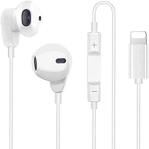 Auriculares Deportivos con Cable con Micrófono y Control de Volumen,Graves Potentes y Auriculares ergonómicos antirruido ,Compatible con iPhone 11/12/XS/XR/X/7/7 Plus/8/8Plus (Blanco)