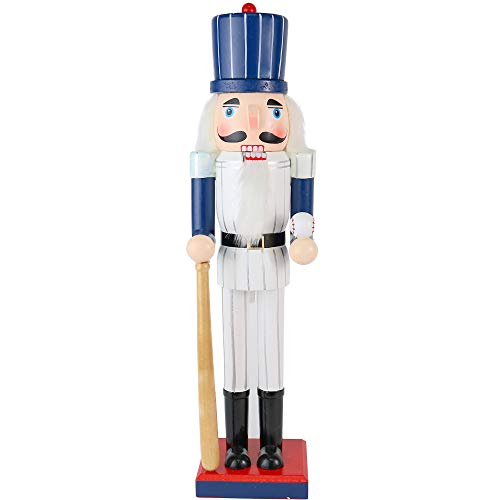 Ornativity Christmas Baseball Player Nutcracker - Baseball Player with White Pin Stripe Uniform and Bat Holiday Decor Nutcracker