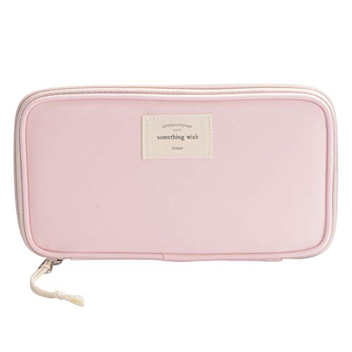 Pencil Case, Large Capacity Waterproof Oxford Pencil Case Stationery Pencil Pouch Bag Case Cosmetic Makeup Bag Passport Organizer Bag, (Pink)