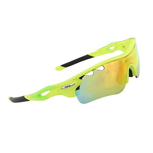 Duco Gafas de Sol polarizadas para Bicicleta (0025), Verde