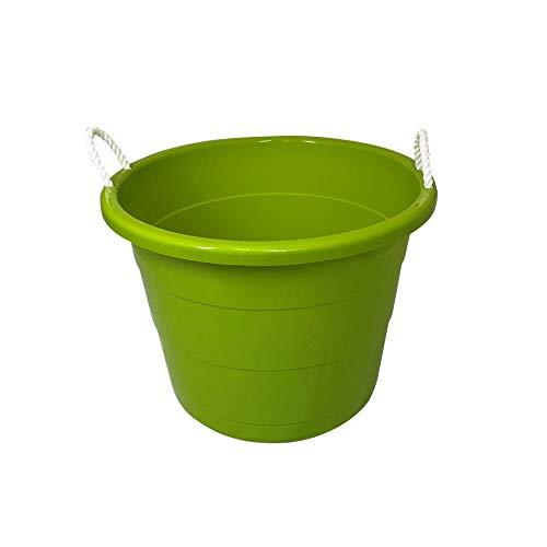 Homz Plastic Utility Rope Handled Tub, 17 Gallon, Bold Lime, Set of 2