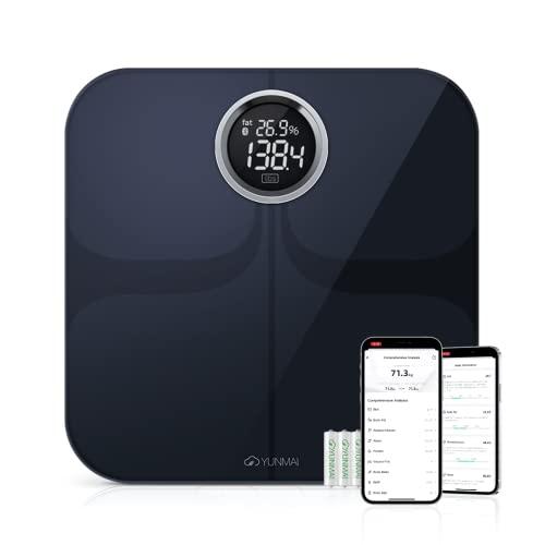 Báscula de Baño Inteligente Digital de Alta Medición Precisa, YUNMAI Premium Báscula Grasa Corporal Balanza Digital Baño con Bluetooth iOS Android App13 Funciones 16 usuario 180kg (Negro)