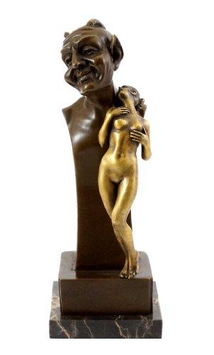 Bronzefigur - Akt Figur - Faun Büste mit Jungfrau - Wiener Bronze - Bergmann-Stempel - Vienna - Teufel mit Jungfer