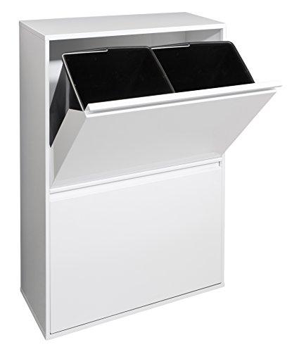 Arregui Basic Cubo de Basura y Reciclaje de Acero con 4 Cubos, Metal, Blanco, 90,5 x 58,5 x 24,5 cm