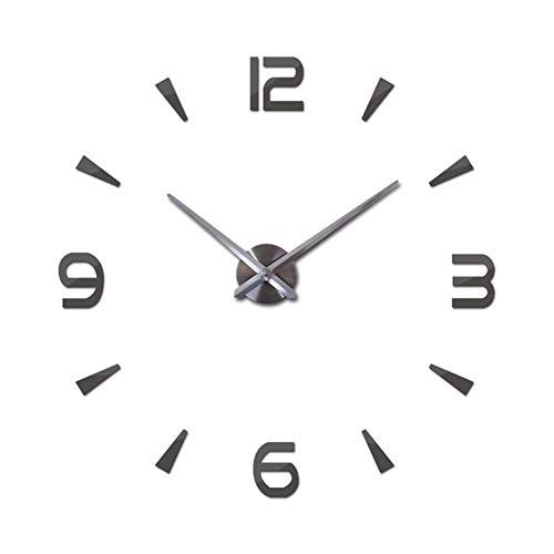FengLi121 Large Clocks For Walls Acrylic Mirror Clocks Europe Diy 3d Stickers Large Decorative Quartz Watch Living Room 2019 Wall Clock (Color : Dark Gray, Sheet Size : 37inch)
