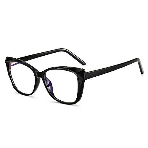 SUNGAIT Occhio di Gatto Luce Anti-Blu Occhiali con Montatura Geometrica con Taglio a Diamante(Telaio Nero (Finitura Brillante))