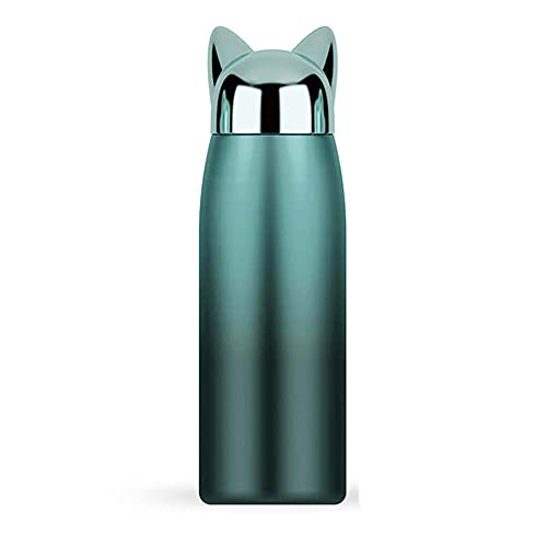 Water Bottle Fox Thermoses for Man and Women, Thermal Insulated Cups for Hot and Cold Drinks, BPA Free Stainless Steel Leak-proof Flask for Boys and Girls Indoor Outdoor Sports(10 oz Fade Green)