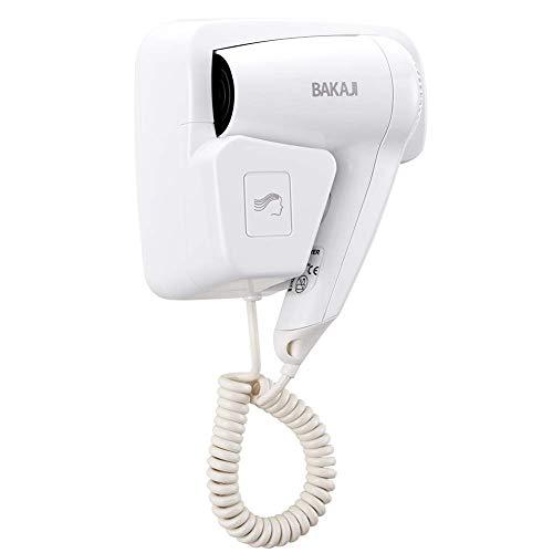 Bakaji Asciugacapelli da Parete Muro Phon Asciuga Capelli Bagno Potenza 1100W Velocità Selezionabile Colore Bianco per Casa Hotel (2 Velocità)