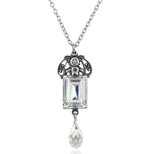 nobel-schmuck Jugendstil Kette mit Kristalle von Swarovski® Silber Crystal