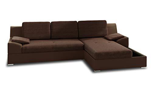 Ecksofa Aldo mit Glasregal, Couchgarnitur mit Bettfunktion und Bettkasten, Sofagarnitur, Couch mit...