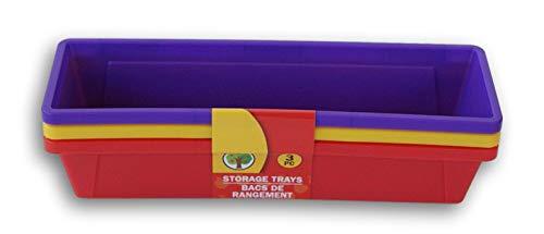 Teaching Tree Colorful Mini Plastic Storage Trays Pencil Baskets - Purple, Yellow, Tomato Red - Set of 3
