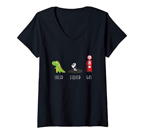 Mujer Química de combustibles fósiles Dinosaurio de gas sólido Camiseta Cuello V