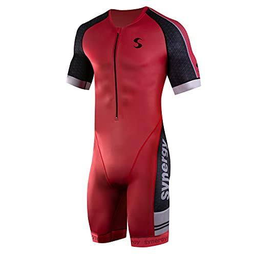 Synergy Triathlon Tri Suit - Men's Elite Short Sleeve Trisuit Cycling Skinsuit (Cardinal, Medium)
