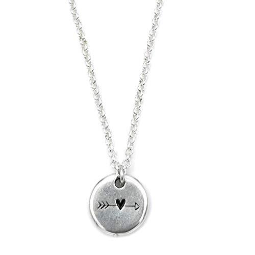 Halskette versilbert Anhänger rund Gravur Pfeil mit Herz, modern, Damen, Kette, Herzanhänger rund, Geschenk Idee